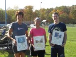From left to right:   Stephanie Sandy (1st female finisher; 50:57.3) Fernanda Ryen  (3rd female finisher) Dylan Buffington (1st male finisher; 34:44.3) Missing from photo: Tom Sneeringer (2nd male), Martin Whitaker (3rd male), Connie Myers (2nd female)