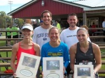 From left to right – front:  Rachel DeFreitas  (2nd female finisher) Marilyn Gregory (1st female finisher; 1:32:27.2) Nikki Boyles (3rd female finisher)  Back:  Justin Schulte (2nd male finisher) Curtis Houser (1st male finisher; 1:23:15.3) Missing from photo: Richard Albertson (3rd male)